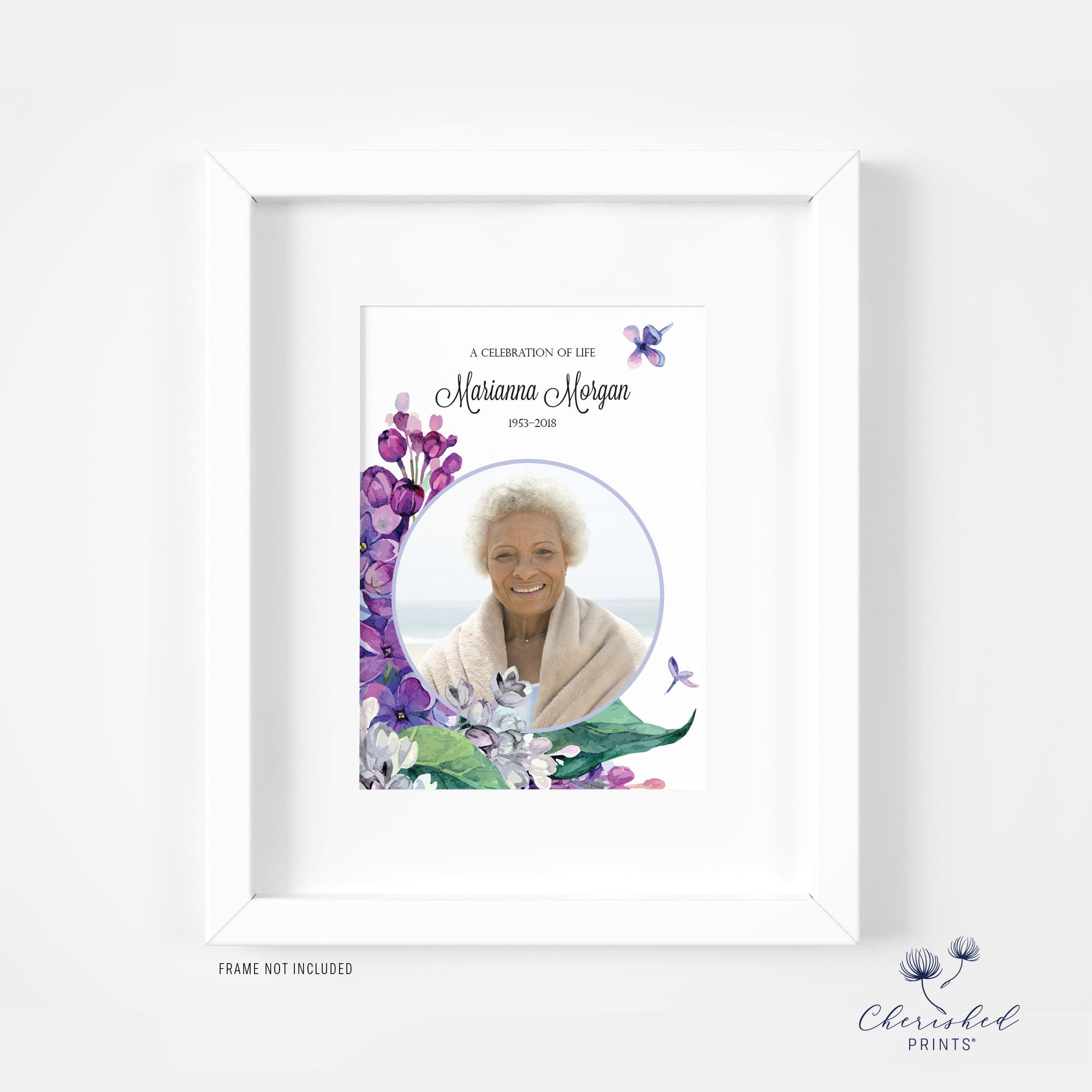 framed lilac flowers memorial card