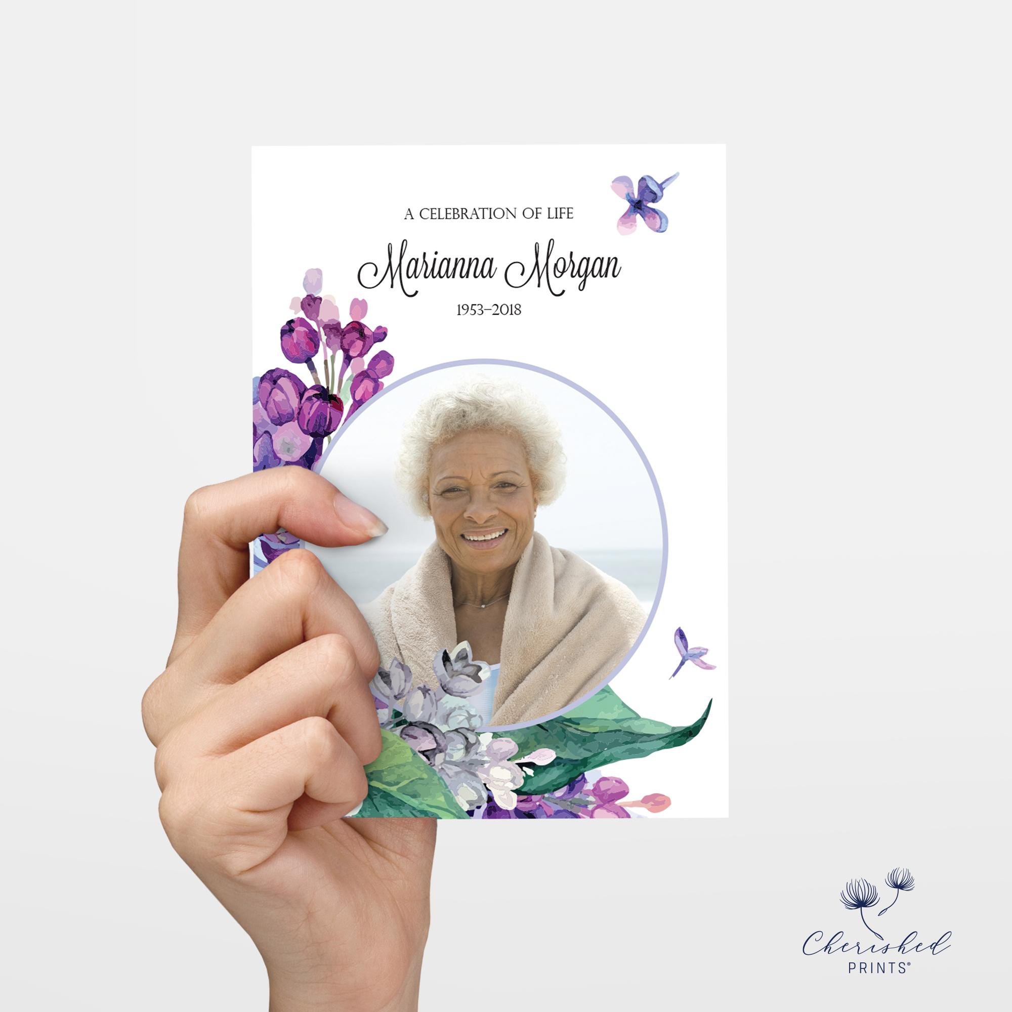 Lilac flower memorial card