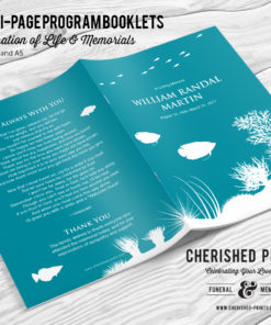 Coral Reef Multipage Funeral Program Booklet