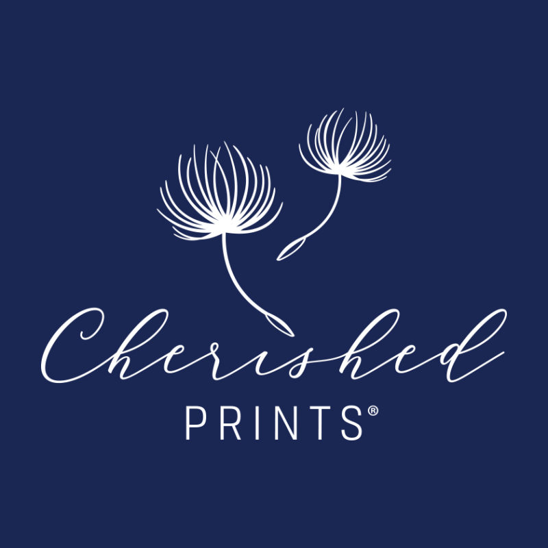 Cherished Prints logo on blue