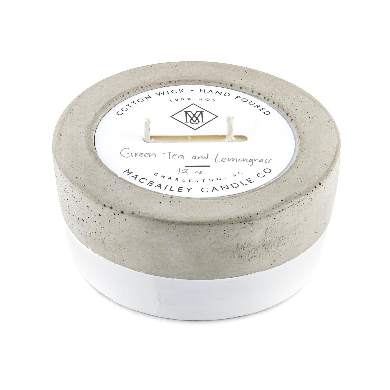 Concrete Candle 12oz - White Dipped