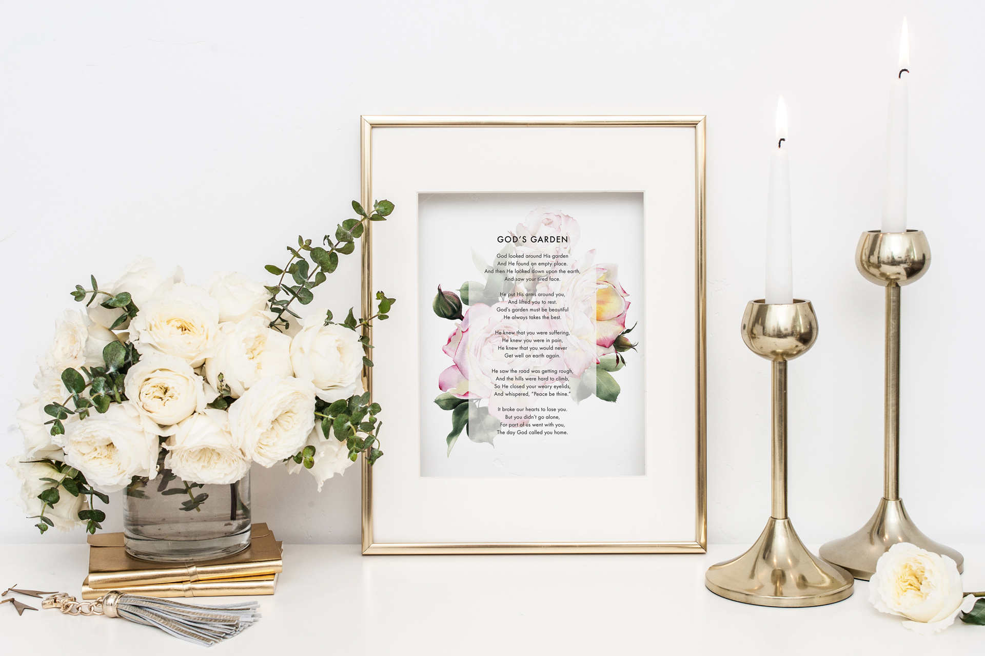 God's Garden Watercolor Rose Poem Print